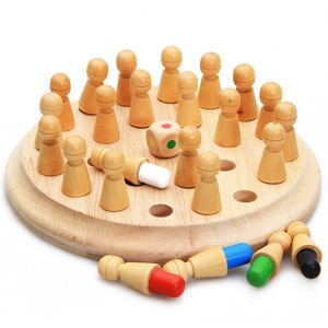 Wooden Chess Pieces Party Games Children Memory Intelligence Development Toys Board Games Color-match for Kids Baby