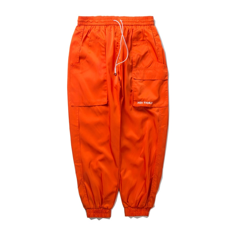 Favorocent otoño para hombre bolsillos laterales pantalones Harem Cargo Hip Hop Casual para hombre corredores de moda Streetwear negro pantalones naranjas