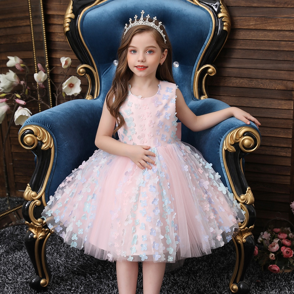 فستان صيفي للفتيات 2021 فساتين الأميرات للأطفال فستان للحفلات الراقصة شبكي للفتيات