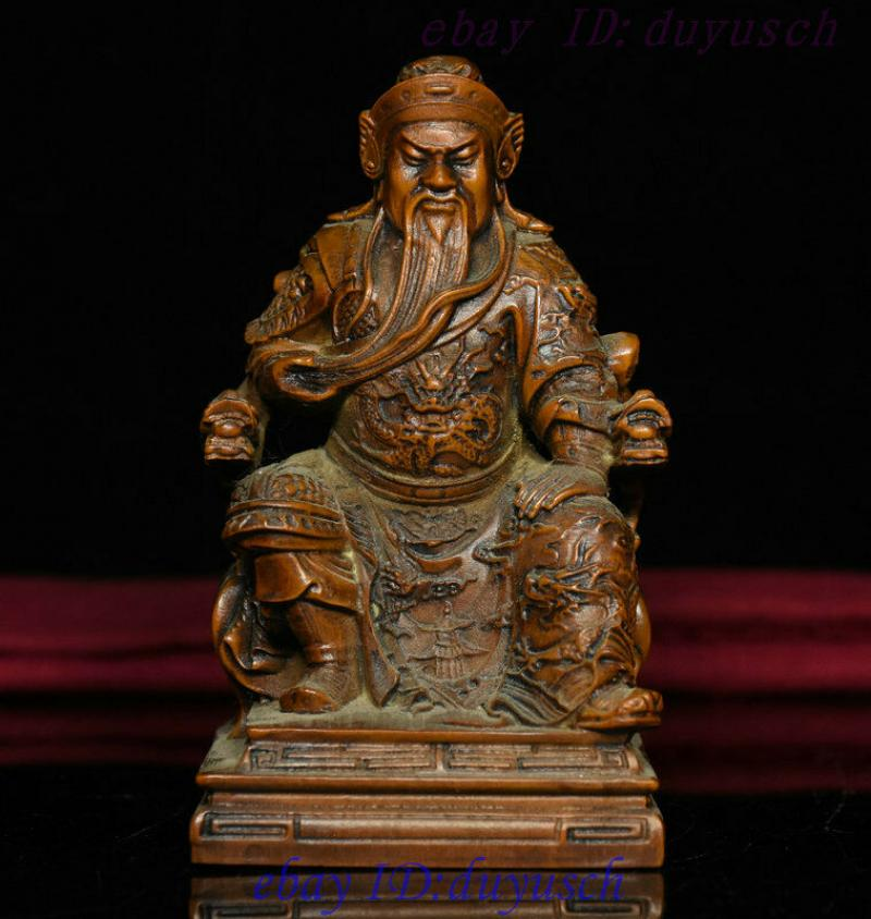 Estatua de dragón sentado tallado en madera de boj antigua folklórico de China Guan Gong Yu God