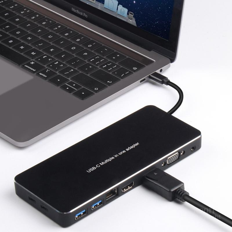 9188s Multi USB tipo C a HDMI adaptador USB-C HDMI VGA DP RJ45 3,5mm de adaptador de carga muelle Convertidor para MacBook Huawei Mate 10