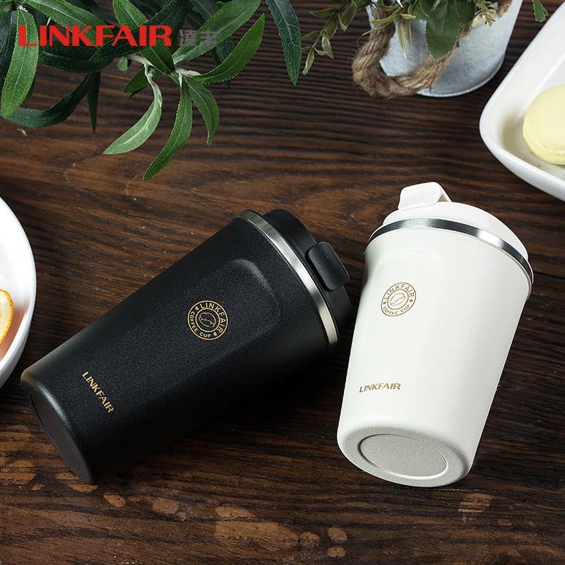 LINKFAIR-ترمس قهوة من الفولاذ المقاوم للصدأ ، كوب سميك ، سيارة كبيرة ، سفر ، قارورة مفرغة ، جديد ، SUS304 ، 2021