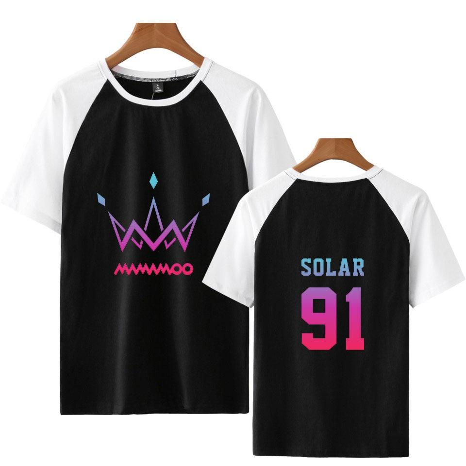 MAMAMOO moda impresión costura Hip Hop Street camiseta kpop cool cómoda ropa básica contraste verano camisa de manga corta