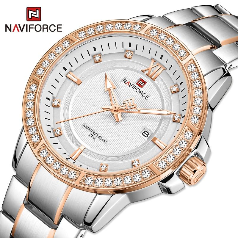 NAVIFORCE Diamond Watches For Men Fashion Casual Male Wrist watch Luxury Brand Steel Strap Waterproof Quartz Clock Reloj hombre