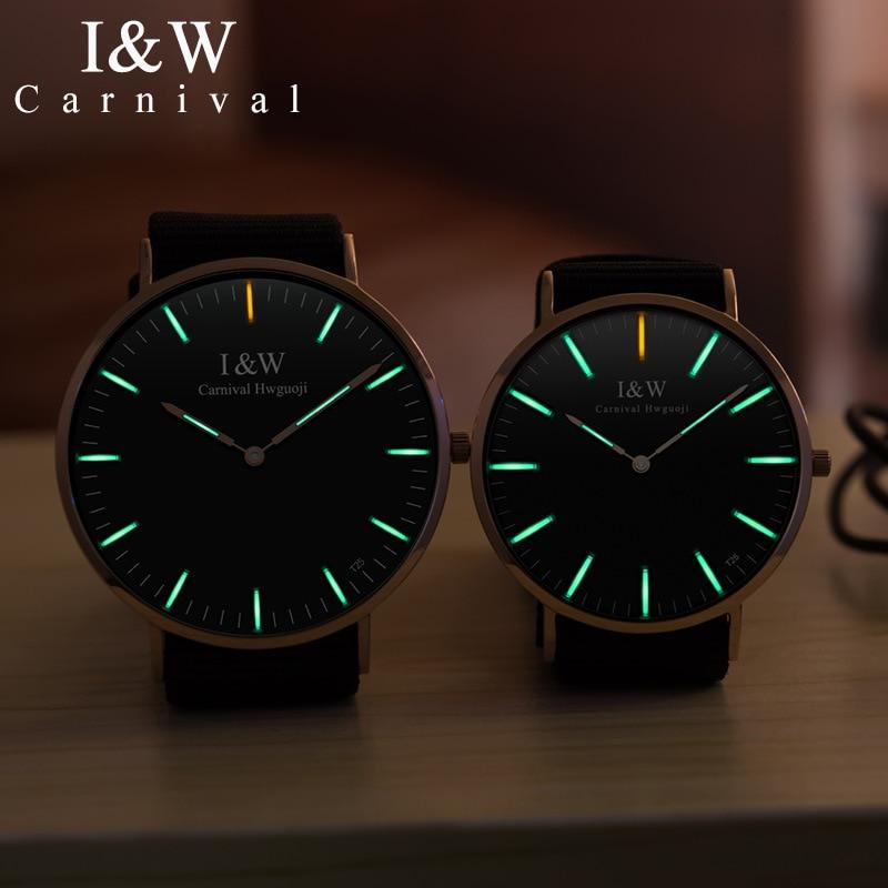 CARNIVAL Brand Fashion Watch Man Woman Couple Lover's Self Luminous Tritium Ultra Thin Quartz Wristwatch 2021 Reloj Hombre Mujer enlarge