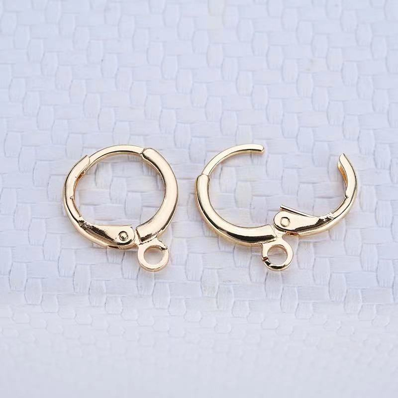 10PCS 24K Gold Color Brass Round Loop Earrings Hook High Quality Diy Fashion Jewelry Findings Accessories недорого
