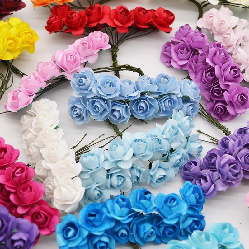 AliExpress - 72-144pcs 2cm Mini Rose Flower Paper Artificial Flowers Head Wedding Bouquet Scrapbooking Gift Box Rose Wreath Party Decorations