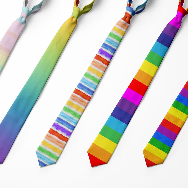 AliExpress - Men Fashion Colorful Tie  Rainbow Stripesr Holiday Festival 3d Printed  Cravate Men's Party Gift Casual Wedding Shirt Neckties