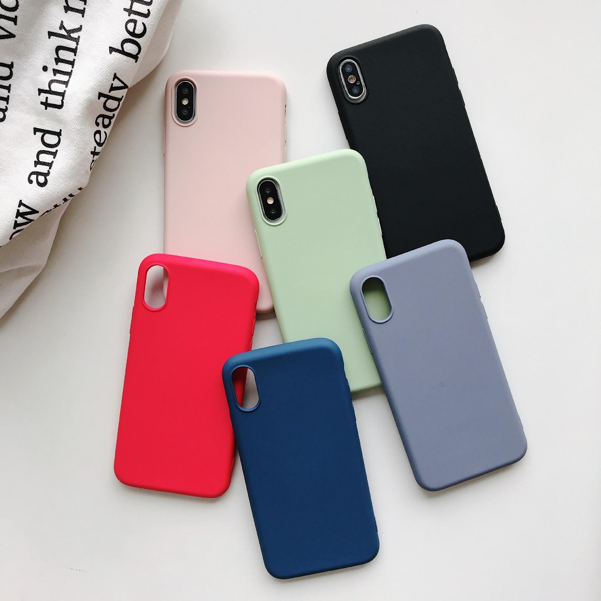 El logotipo Original funda para iPhone 7 7 6 6s Plus, iPhone funda de silicona Color caramelo Coque Capa para iPhone X Xs X 11 Pro Max XR