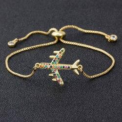 Pulseira de cobre cz, nova pulseira feminina ajustável voador avião jóias festa viagem de casamento presente