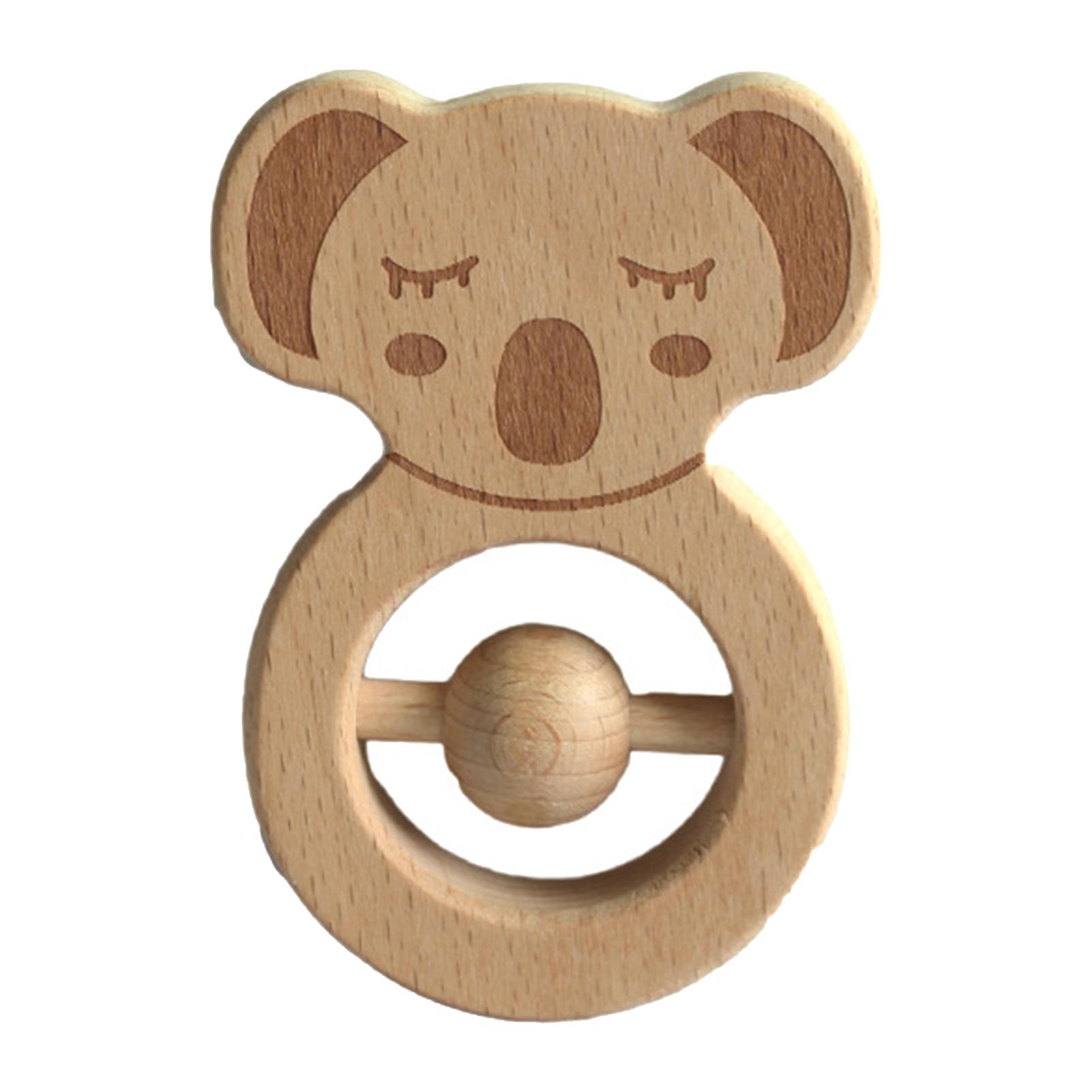 Тизеры из дерева для молярная Прорезыватели для зубов нетоксичный бука животного в форме коалы безопасный новорожденных молярная игрушки ...