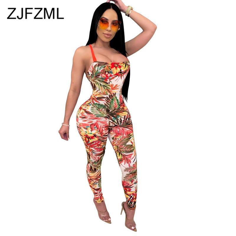 Spaghetti Strap Summer Club Party Bodysuit Women Flower Print Open Back Bandage Jumpsuit Elegant Strapless Sleeveless Playsuits