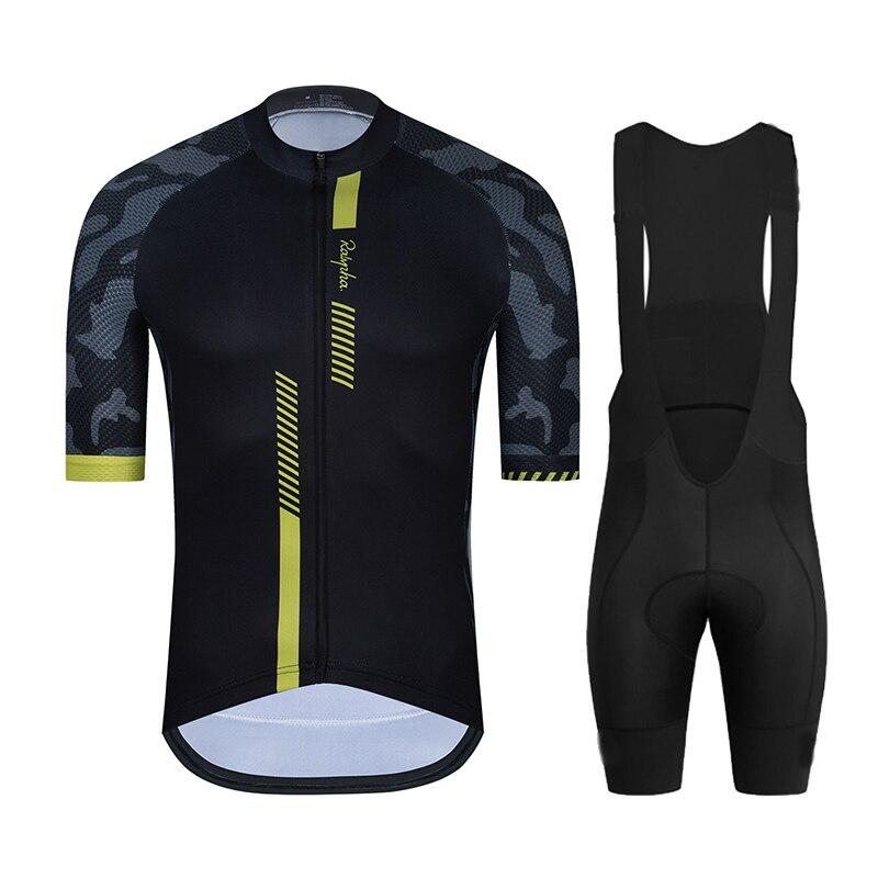 2021 Ralvpha negro peto y camiseta de ciclismo conjunto MTB uniforme bicicleta...