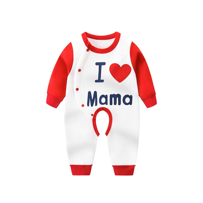 Rompers Baby Confession Letter Cotton Open-file Romper Contrasting Color O-neck Long-sleeved Baby Ou