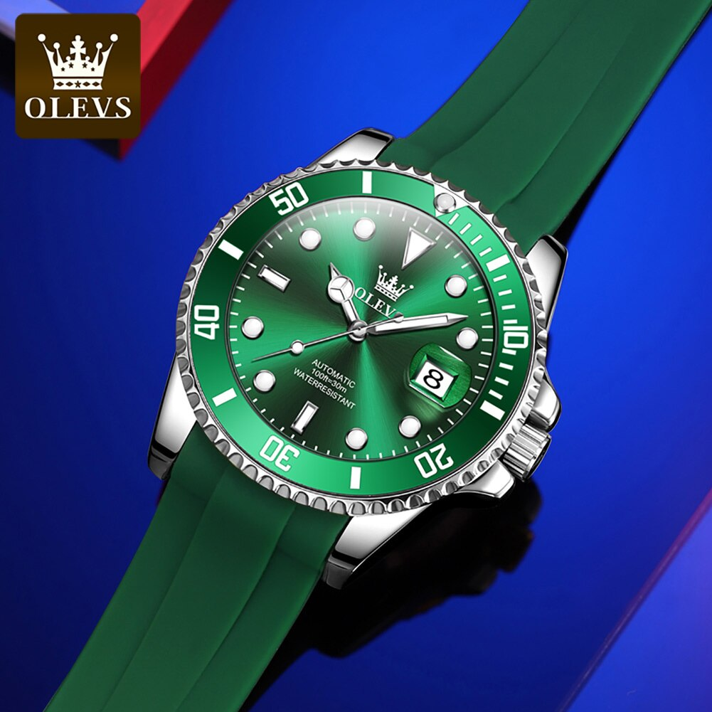 OLEVS Water Ghost Series Mechanical Watch Men Fashion Silicone Waterproof Automatic Watches Men's Sports Clock Relogio Masculino enlarge