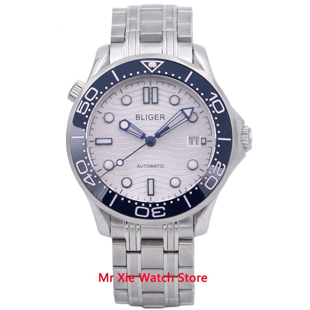 Bliger 41mm reloj de pulsera para hombre con correa mecanismo Miyota cristal de zafiro luminoso resistente al agua calendario mecánico automático