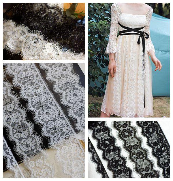 6 mt/los weiß Schwarz Wimpern Spitze Trim Stoff Blume DIY Handwerk Hochzeit Kleid Kleidung Bh Band spitze material Handgemachte