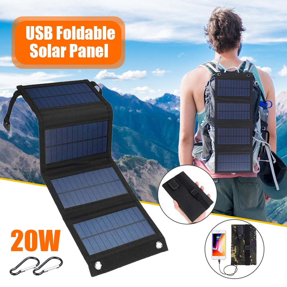 Foldable 20W USB Solar Panel Outdoor Flexible Solar Panels Waterproof Backpack Folding Solar Battery Phone Mobile Power Chargers