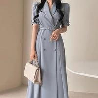 korean chic summer temperament light ripe wind lapel chic double breasted waist short sleeve dress long skirt with belt