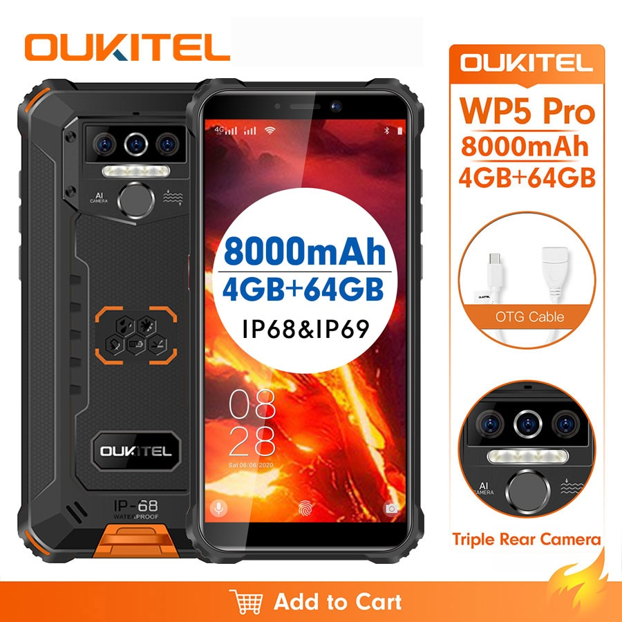 OUKITEL-Smartphone WP5 Pro ، هاتف خلوي مقاوم للماء IP68 ، شاشة 5.5 بوصة ، نظام تشغيل Android 10.0 ، كاميرا ثلاثية 13 ميجابكسل ، التعرف على الوجه ، 4 جيجابايت رام ، 64 ج...