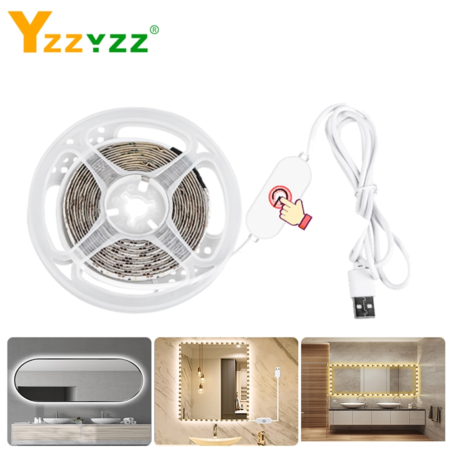 USB Sensor táctil regulable maquillaje tocador espejo luces maquillaje Led tira para baño dormitorio tocador cosmético espejo Mesa luces