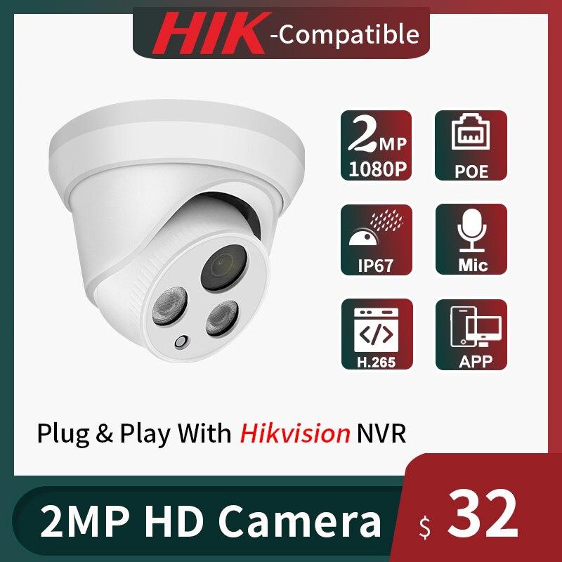 Hikvision متوافق 2MP IP كاميرا قبة POE أمن الوطن كاميرا تلفزيونات الدوائر المغلقة 1080P IR 30m H.265 P2P التوصيل والتشغيل Hikvision NVR IPC