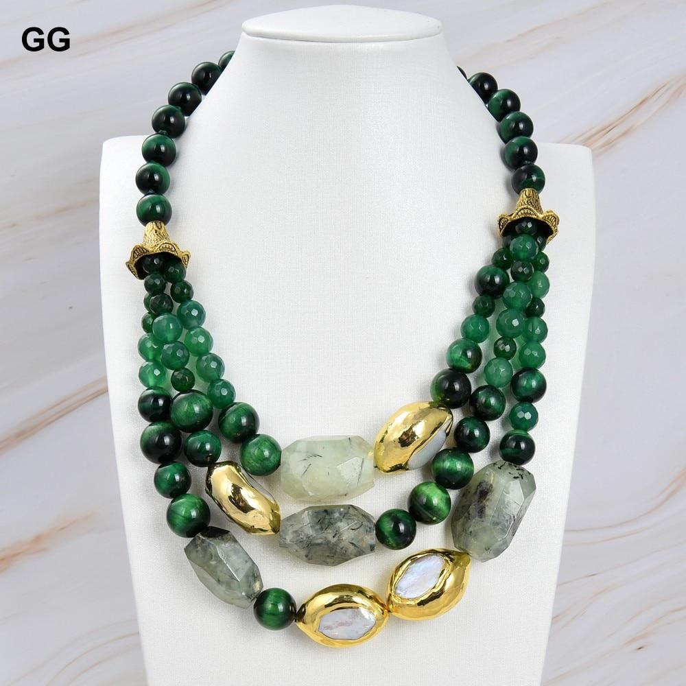 GuaiGuai-عقد من اللؤلؤ الأبيض كيشي ، مجوهرات 19 بوصة ، 3 خيوط ، عين النمر الأخضر Prehnite ، الأحجار الكريمة