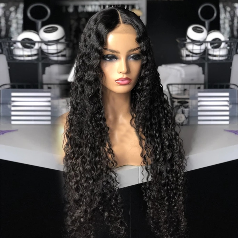 30 Inch Long  Water Wave Virgin Hair Lace Closure Wig  Glueless Wet and Wavy 4*4 Lace Closure Wig For Black Women
