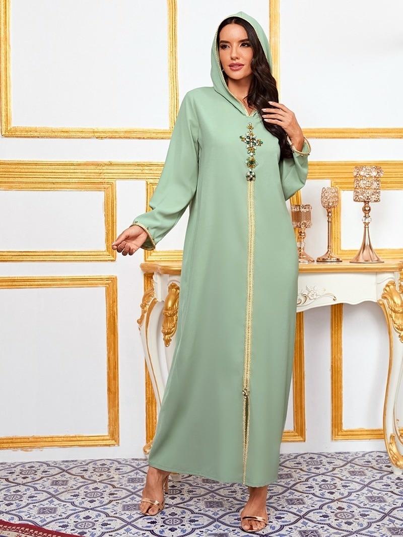 Dubai Abaya Djellaba Kaftan marroquí diamante trenza Trim largo manga musulmán hiyab...