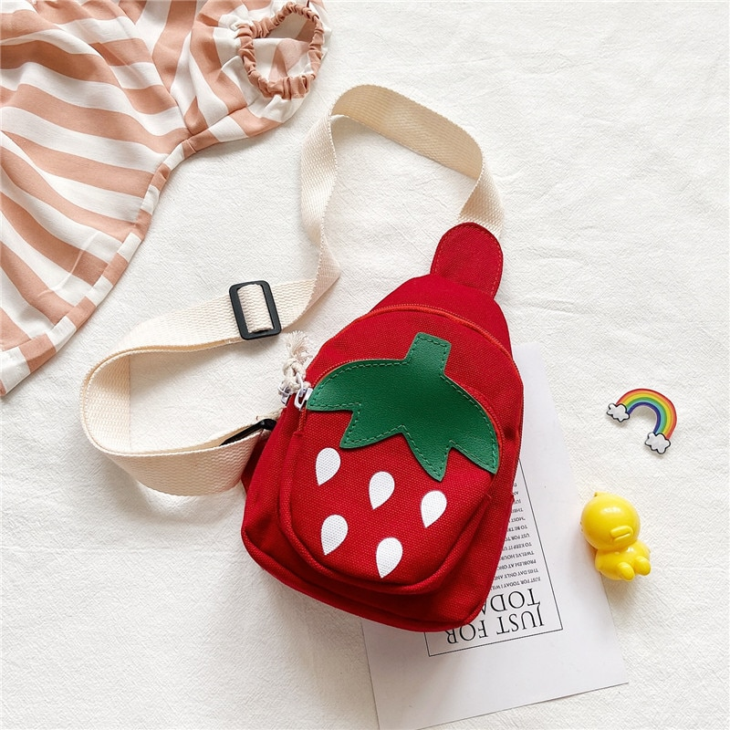 Lovely Children Cartoon Strawberry Chest Bag Casual Canvas Boys Girls Small Shoulder Bags Cute Baby
