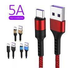 Chargeur rapide de cordon de données de câble USB C pour Xiaomi mi10 Premium huawei Mate9 Mate10 P10 P20 p30 5A super charge
