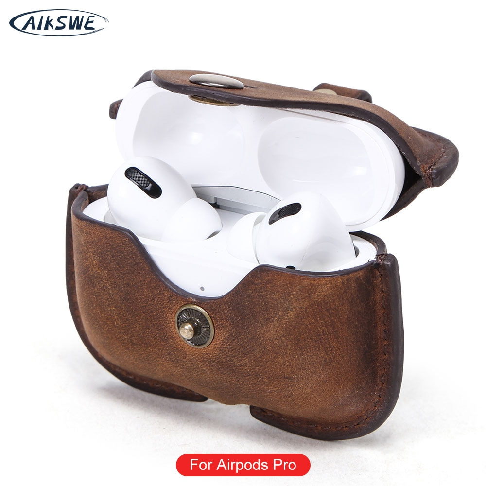 Case de Couro para Airpods Fone de Ouvido sem Fio Aikswe Dermis Capa Alça Bluetooth Fone Protetor Airpods 3 Case Pro