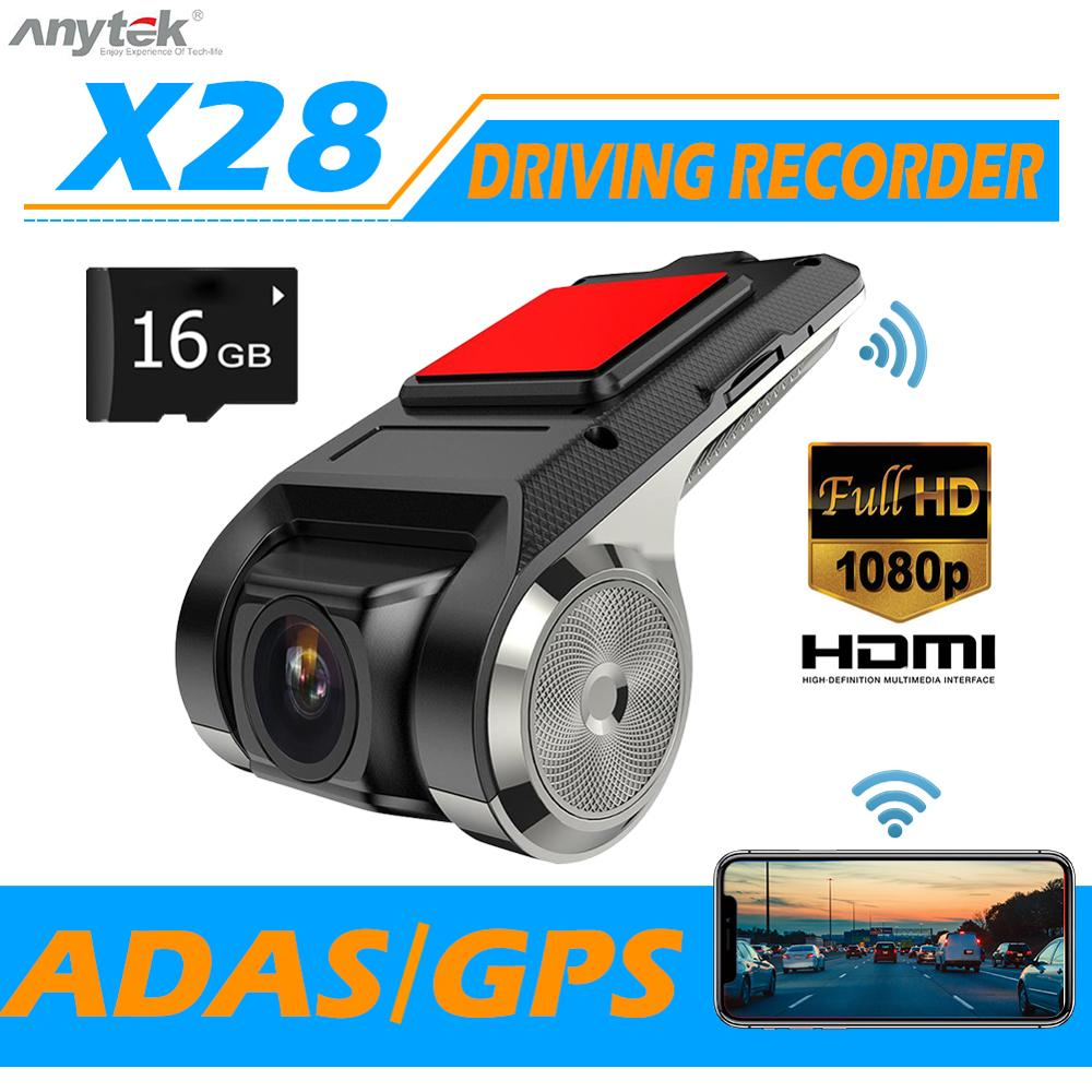 Anytek X28 Mini coche DVR Cámara Full HD 1080P vídeo para automóvil registrador WiFi ADAS 150 grados gran angular g-sensor cámara de salpicadero