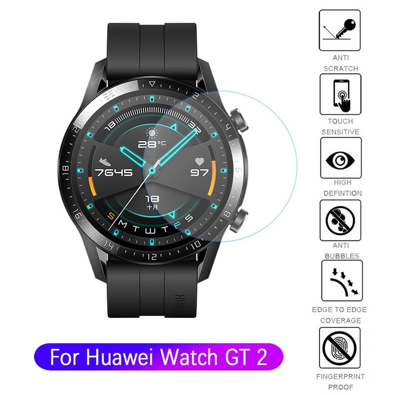 Protecteur d'écran pour Huawei Watch GT2, Protection complète en verre trempé 9H, Film HD résistant aux rayures, 46mm 42mm