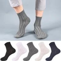 10 pcs mens cotton tube socks summer thin mesh breathable solid color striped classic mens socks wear resistant sock men