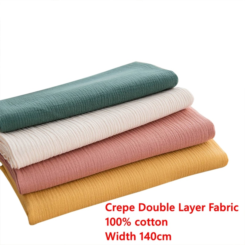 Tejido de costura crepé de algodón de doble capa de tela de gasa suave para bebé o toalla de baño 50*140 cm/pieza W300530