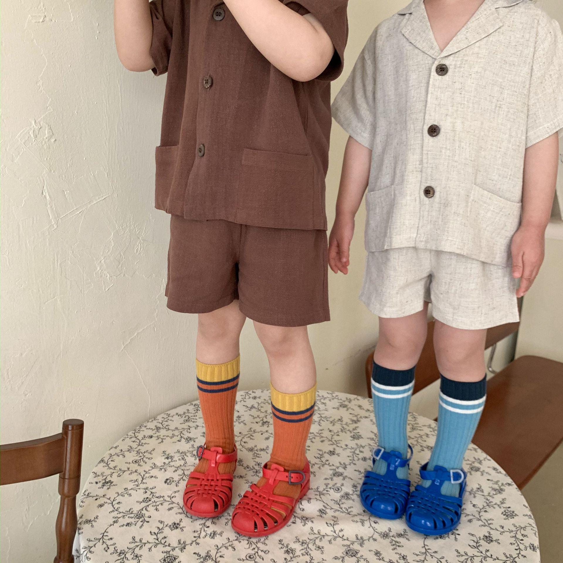 طفل رضيع فتاة الموضة الكتان جيب الديكور تي شيرتات قصيرة الاكمام + طفل صبي الصلبة السراويل غير رسمية بانت 2 قطعة ملابس الأطفال