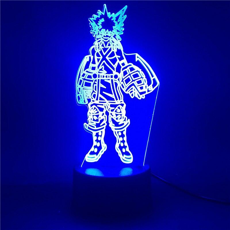 Boku без герой 3D лампа светильник Katsuki Bakugo фигурный светодиодный ночной Светильник для детей мой герой Академии аниме светильник игрушки