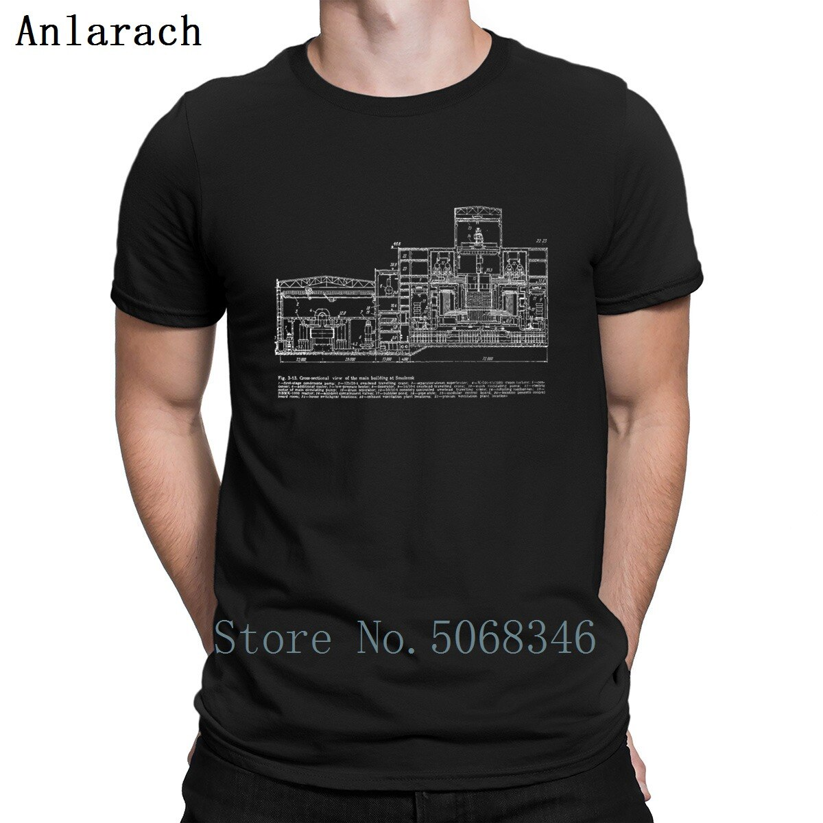 Rbmk 1000 Reactor Blueprint Smolensk Chernóbil camiseta regalo verano Natural moda cuello redondo personaje camisa de manga corta