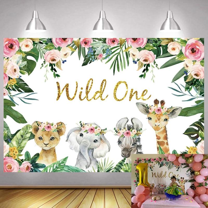 Фон для фотосъемки с изображением диких девушек джунглей животных сафари Детский День Рождения Вечеринка фотография декорация баннера