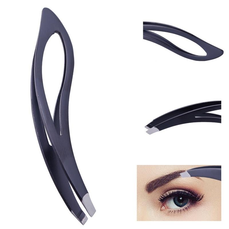 1PC Venta caliente pinzas de acero inoxidable plano inclinado punta cabello profesional cejas pinzas clip belleza