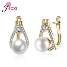Dernières nouvelles boucles doreilles en forme de U zircon cubique brillant pour femmes dame de mariée 925 bijoux de mariage en argent Sterling