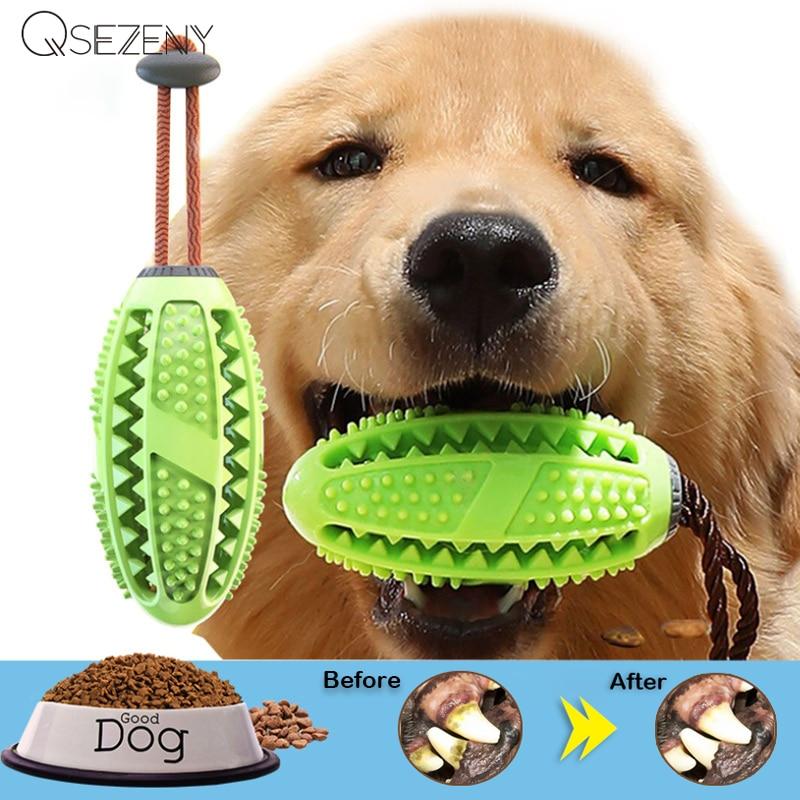 Juguetes Para Perros cepillo de dientes IQ Treat dispensar Bola de soga limpieza dental segura mascota masticar juguete interactivo cachorro juego de entrenamiento