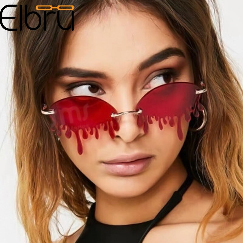 Elbru Fashion Rimless Sunglasses Women Vintage Unique Water Drop Sunglasses Luxury Trending Steampun