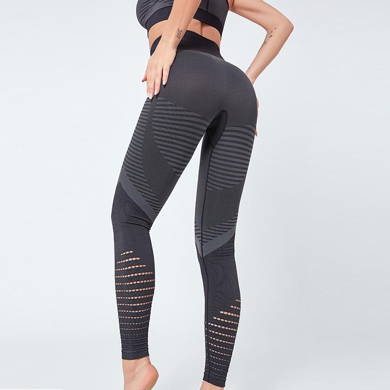 Breathable Energy Seamless Leggings Sport Women Fitness High Waist  Sport Leggings Stitching Yoga Legging Hollow Yoga Pants
