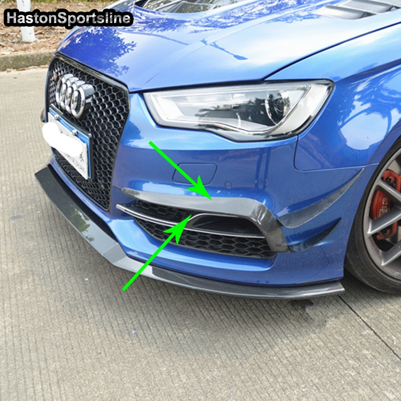 S3 estilo do carro de fibra carbono amortecedor dianteiro splitter para audi s3 sline 2014 sedan 2016 sedan
