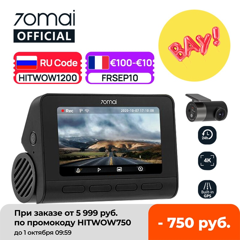 70mai Dash Cam 4K A800S GPS ADAS 70mai A800S Car DVR 2160P Support Rear Cam View Recorder Car camera 24H Parking 140FOV