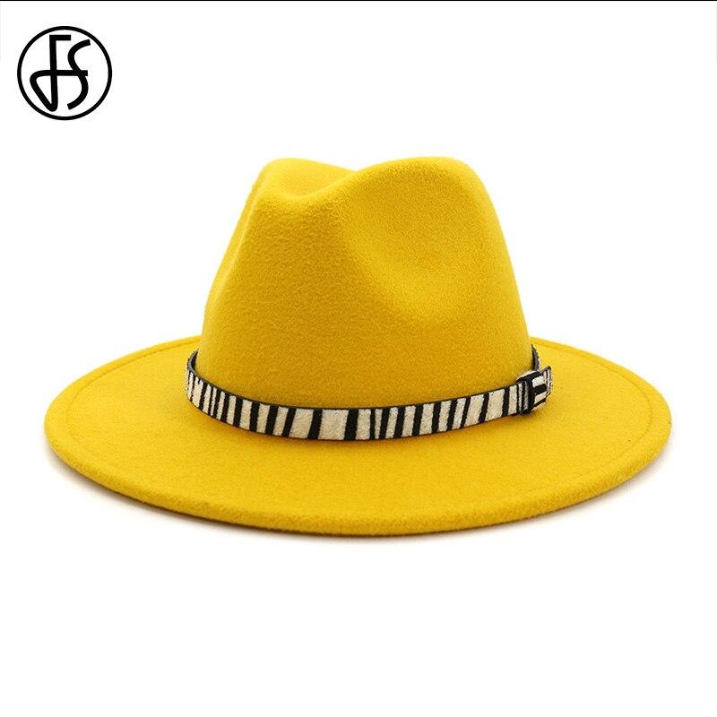 FS Elegant Women Church Hats Yellow Purple Wool Cap Winter Classic Hats For Men Large Size Wide Brim Tophat Fedora Sombrero