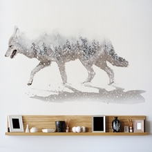 [Shijuekongjian] blanc neige loup autocollant Mural bricolage Animal stickers muraux pour salon bébé chambre décoration de la maison Muursticker