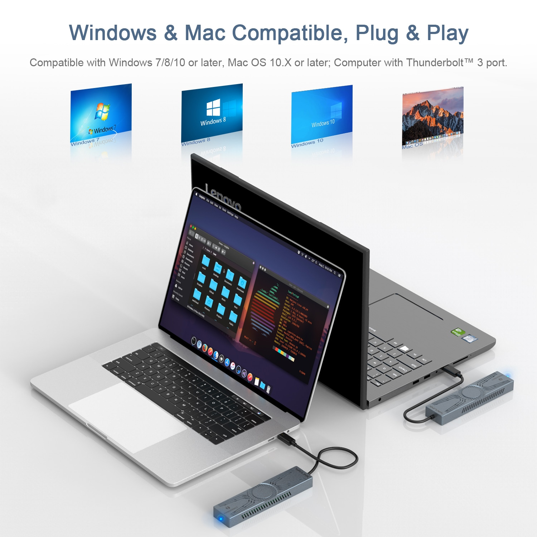 Wavlink Portable M.2 NVMe PCIe SSD EnclosureThunderbolt 3/4 External Hard Disk Drive PCI-E NVME M.2 SSD B Key&B+M Key Up to 4TB enlarge